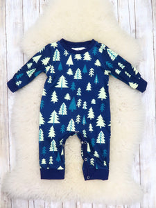 Family Christmas Tree Navy Pajamas
