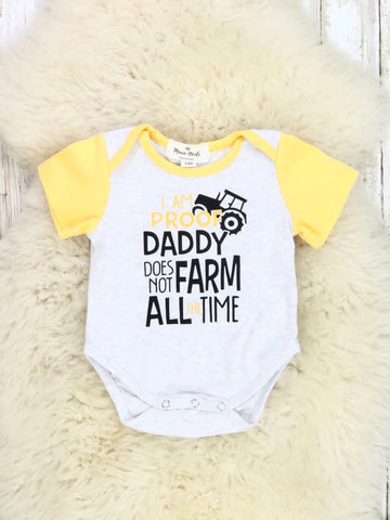 """I'm Proof Daddy Does Not Farm All The Time"" Tractor Romper"
