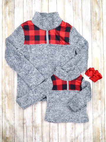 Mom & Me Gray / Buffalo Plaid Sherpa Pullover
