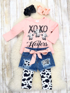 """XOXO Heifers"" Top, Shorts, & Leggings Outfit"