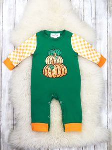Yellow Checkered Green Pumpkin Romper