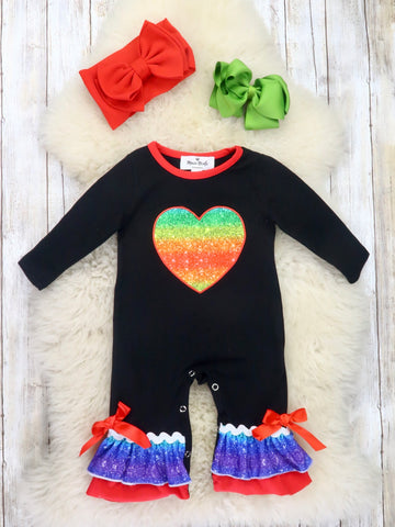 Black Rainbow Heart Ruffle Romper