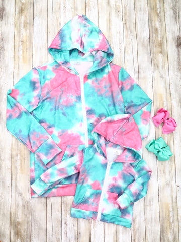 Mom & Me Teal / Pink Tie-Dye Jacket