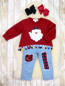 Burgundy Santa Pom Pom Top & Distressed Denim Outfit