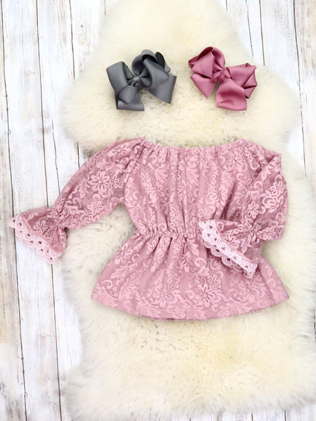 Lace Ruffle Long Sleeve Top - Mauve PINK