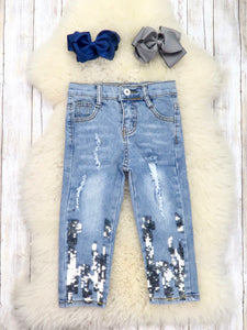 Distressed Sequin Denim Pants