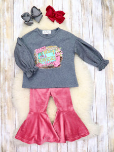 """It's a Cowgirl Thing"" Ruffle Top & Velvet Pink Bell Bottoms Outfit"