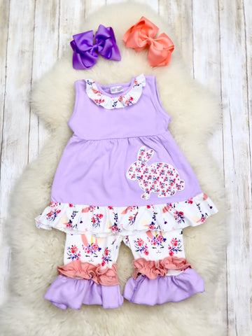 Purple Floral Bunny Tank Tunic & Shorts Outfit