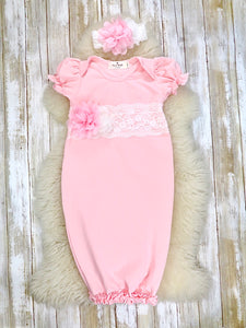 Cotton lace Baby Short Sleeve Gown With Headband - Pink