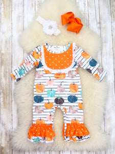 Orange Polka Dot & Striped Pumpkin Ruffle Romper