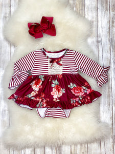 Wine Striped & Floral Onesie Dress