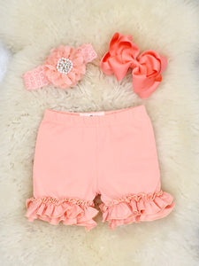 Cotton Ruffle Shorts - Peach
