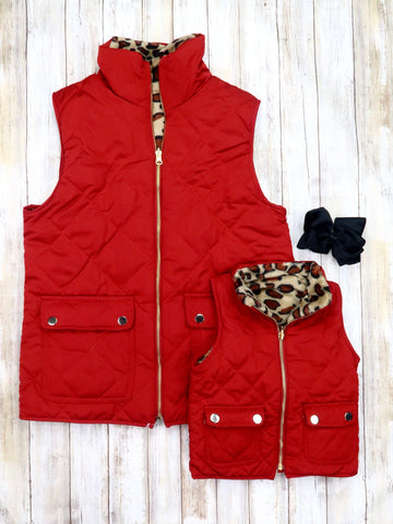 Mom & Me Quilted Leopard Reversible Vest - Wine