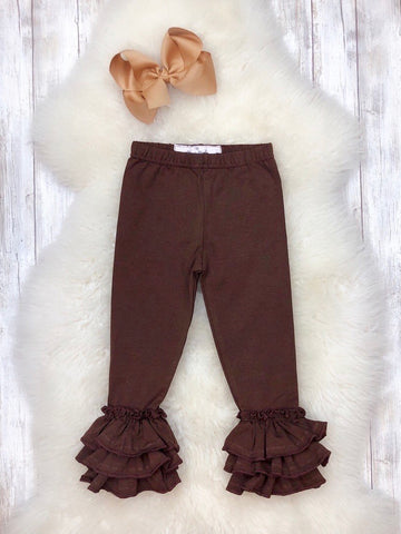 Bell Ruffle Leggings- Chocolate