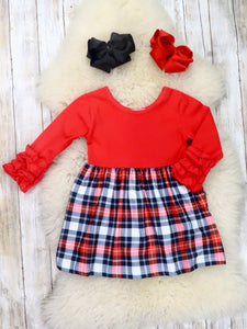 Red Plaid Icing Ruffle Dress