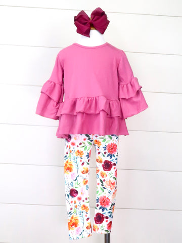 Taffy Ruffle Top & Floral Leggings Outfit