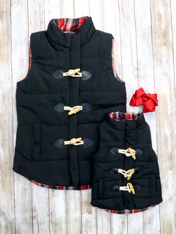 Mom & Me Plaid Button Vest - Black