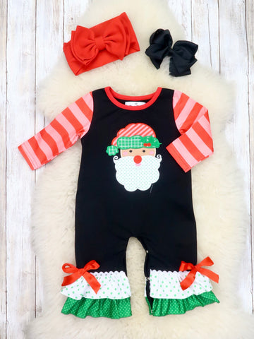 Black / Red Striped Santa Ruffle Romper