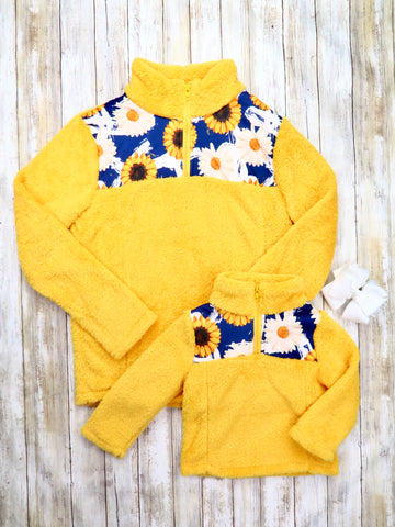 Mom & Me Yellow Sunflower Sherpa Pullover