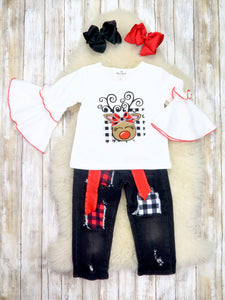 White Reindeer Ruffle Top & Black Distressed Denim Outfit
