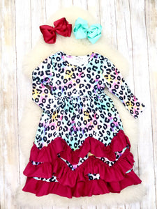 Burgundy Tie-Dye Leopard Ruffle Dress