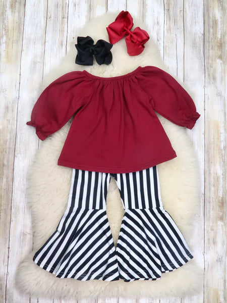 Burgundy Top with Striped Bell Bottoms Outfit