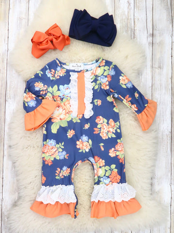 Navy / Burnt Orange Floral Ruffle Romper