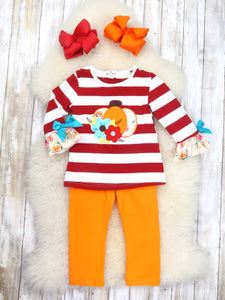 Red / White Striped Pumpkin Top & Orange Pants Outfit