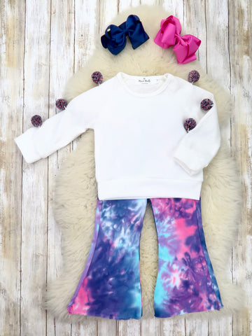 White Pom Pom Shirt & Tie-Dye Flare Pants Outfit