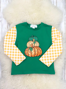 Yellow Checkered Green Pumpkin Shirt