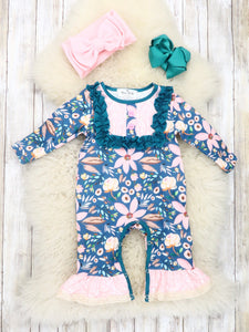 Navy / Pink Lily Ruffle Romper