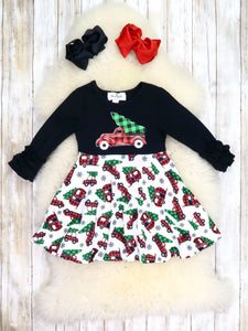 Black / White Christmas Tree Truck Ruffle Dress