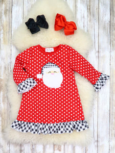 Red Polka Dot & Plaid Santa Ruffle Dress