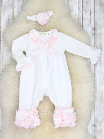 Cotton Icing Coming Home Romper W/ Headband - White