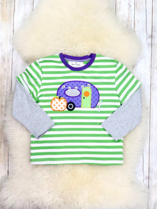 Green / Gray Pinstripe Halloween Camper Shirt