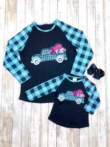 Mom & Me Blue Buffalo Plaid Truck & Hearts Shirt
