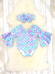 Blue / Purple Mermaid Bubble Romper & Headband