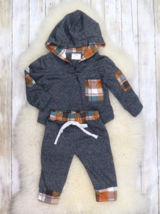 Gray / Brown Plaid Hoodie & Joggers Outfit