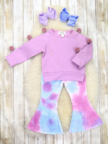 Lavender Pom Pom Shirt & Tie-Dye Flare Pants Outfit