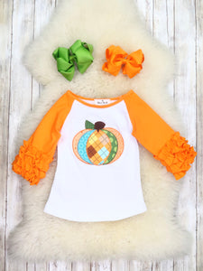 Orange / White Plaid Pumpkin Ruffle Shirt