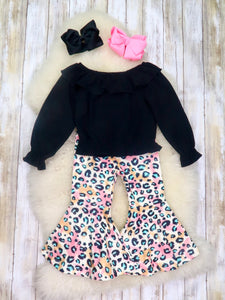 Black Ruffle Top & Pink Leopard Bell Bottoms Outfit