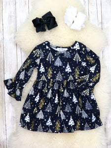 Black Christmas Tree Ruffle Dress