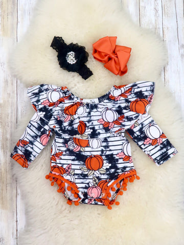 Smoky Pumpkin Ruffle Bubble Romper