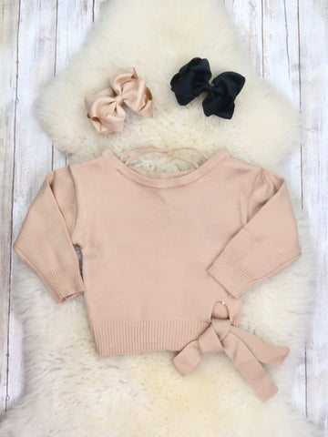 Cream Ribbon Long Sleeve Sweater