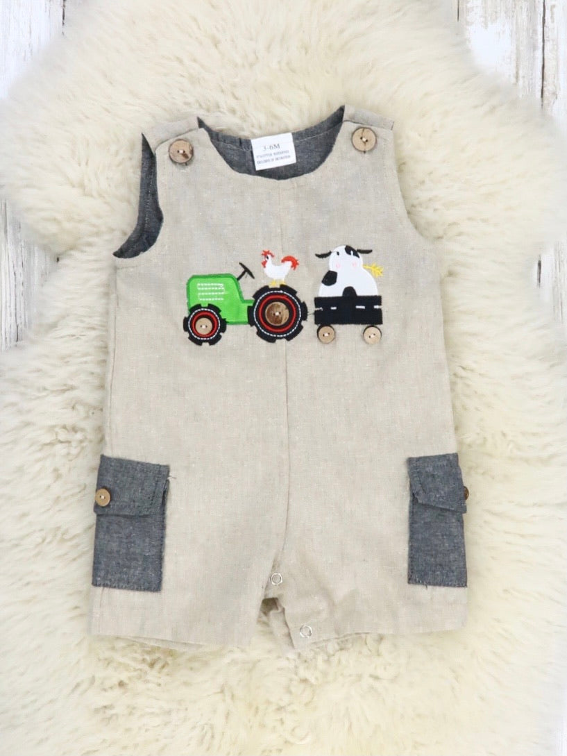 Chicken, Cow, & Tractor Overall Romper
