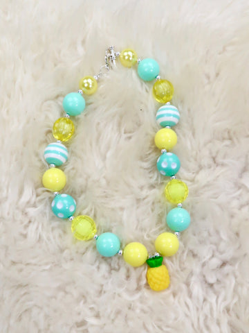 Mint Yellow Pineapple Bubblegum Necklace
