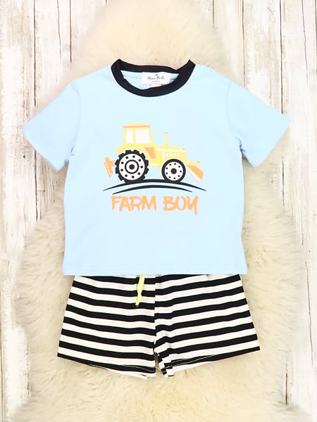 Farm Boy Blue Tractor Top & Black Stripe Shorts Outfit