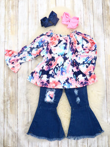 Colorful Floral Ruffle Top & Denim Bell Bottoms Outfit