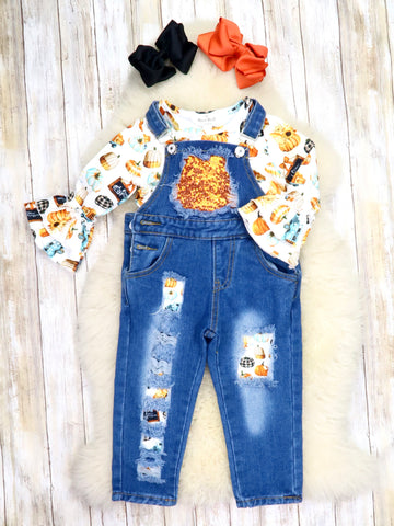 Pumpkin Harvest Ruffle Top & Sequin Overalls Outfit