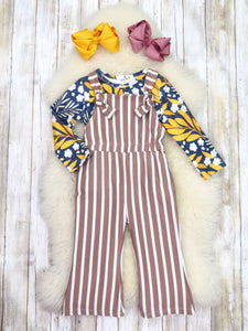 Navy Floral Top & Brown Striped Jumpsuit Outfit